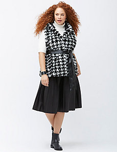 Houndstooth faux fur vest