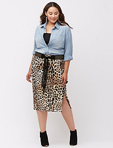 Animal midi pencil skirt