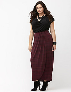 Simply Chic matte Jersey grid print maxi skirt
