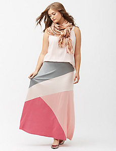Diagonal colorblock maxi skirt