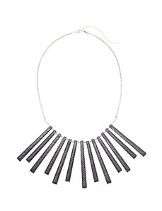 Embossed stick statement necklace