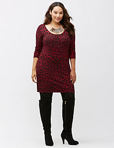 Embellished leopard sweater dress