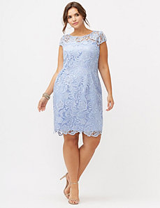 Cap sleeve lace sheath dress by Adrianna Papell