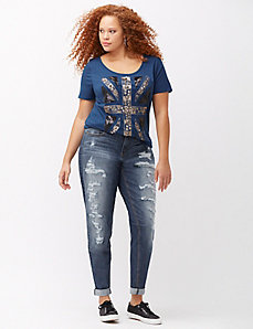 Heavy destructed boyfriend jean