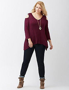 Cold shoulder shark bite top by DKNY JEANS