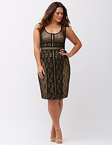Mixed lace sheath dress