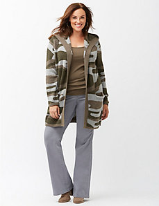 Camo hooded sweater coat