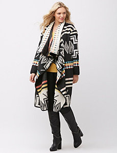 Graphic print blanket coat