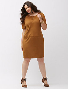 Faux suede sheath dress
