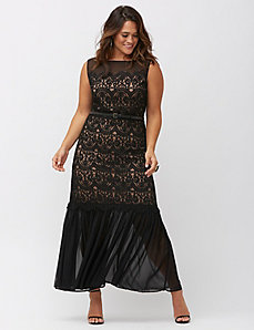 Chiffon & lace long dress by Lela Rose