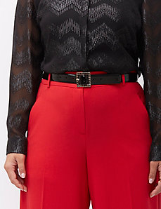 Trouser belt with embellished buckle