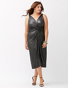 Knot front metallic sheath dress