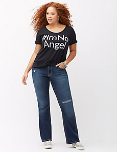 Destructed bootcut jean