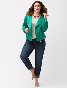 Satin quilted moto jacket
