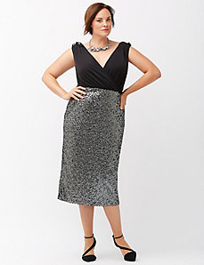 Sequin midi sheath dress