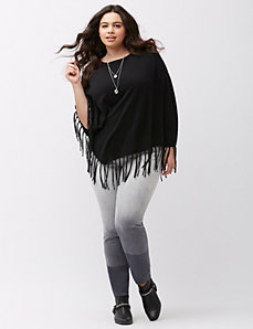 Fringed sweater poncho by DKNY JEANS