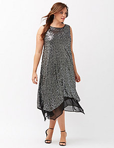 Sequin dress with chiffon
