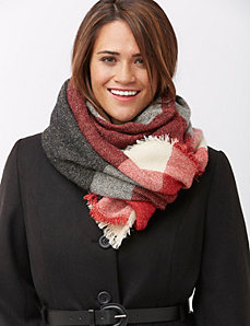 Metallic plaid scarf