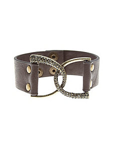 Pave leather strap bracelet