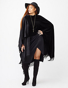 Fringed velvet cape