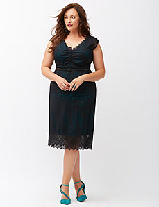 Scalloped lace sheath dress