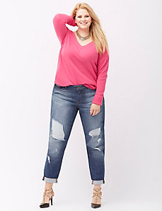 6th & Lane destructed boyfriend jean