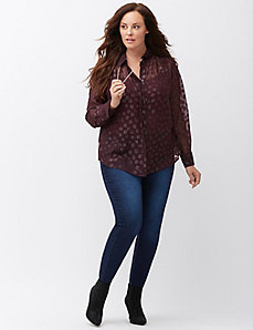 Metallic dot pleated detail blouse