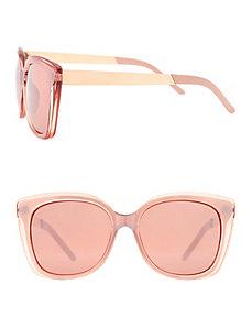 Metallic sunglasses with goldtone arms