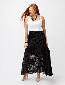 Burnout velvet maxi skirt