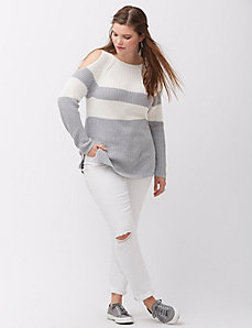 Metallic cold-shoulder pullover sweater