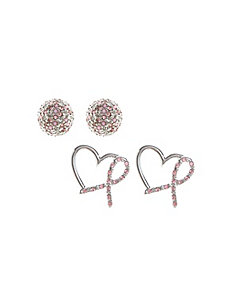 pink ribbon earring duo
