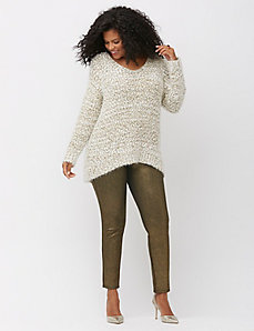 Popcorn knit metallic sweater