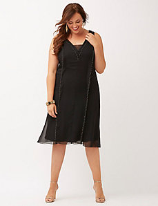 Beaded chiffon A-line dress