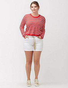 White knit denim short