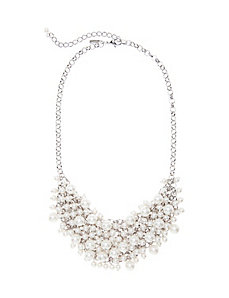 Faux pearl bib necklace