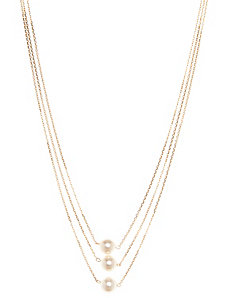 Tiered faux pearl necklace