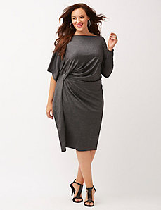 Metallic drama sleeve dress
