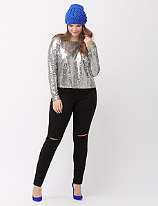 Cropped sequin tee