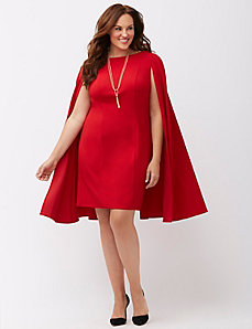 Structured cape sheath dress by Adrianna Papell