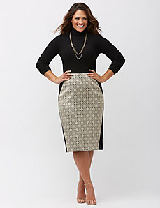 Jacquard midi pencil skirt