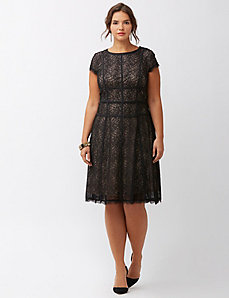 Satin banded lace dress by Adrianna Papell