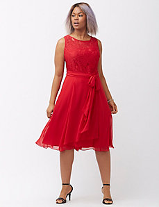 Lace bodice dress with bow by Adrianna Papell