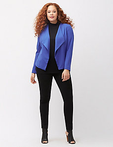 Tailored Stretch collarless draped jacket
