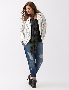 Tailored Stretch drape front plaid jacket