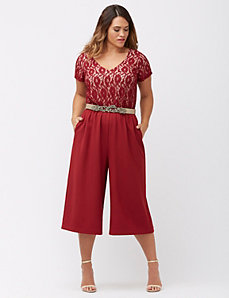 Lace top cropped jumpsuit
