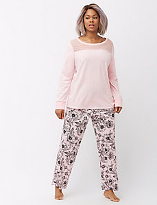Lace yoke sleep top