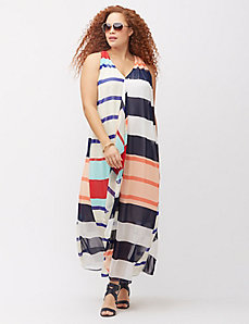 Cascade striped maxi dress