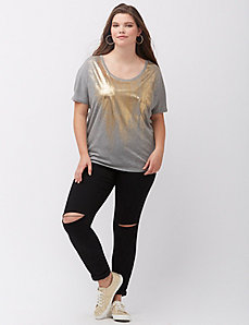 Foiled pieced wedge tee