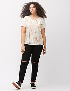 Embellished V-neck tee