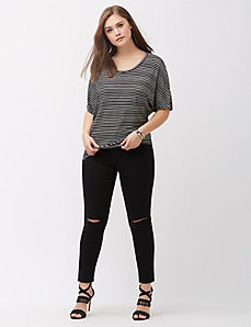 Button-side metallic stripe top